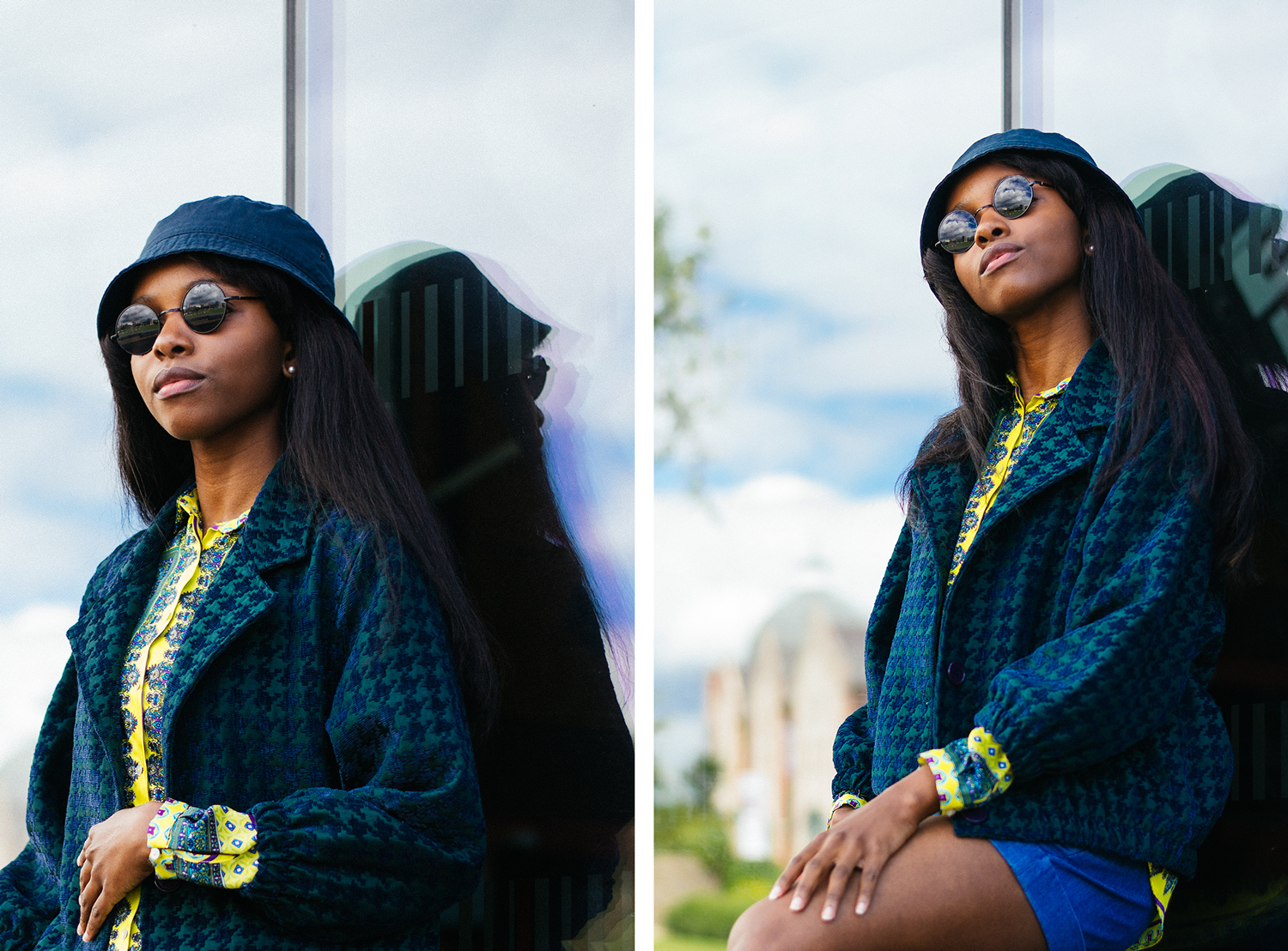 american apparel jacket, h&m bucket hat, dogtooth print, houndstooth print