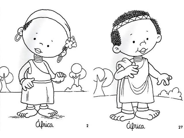 Dibujos para todo dibujos vestidos de paises for African american bible coloring pages