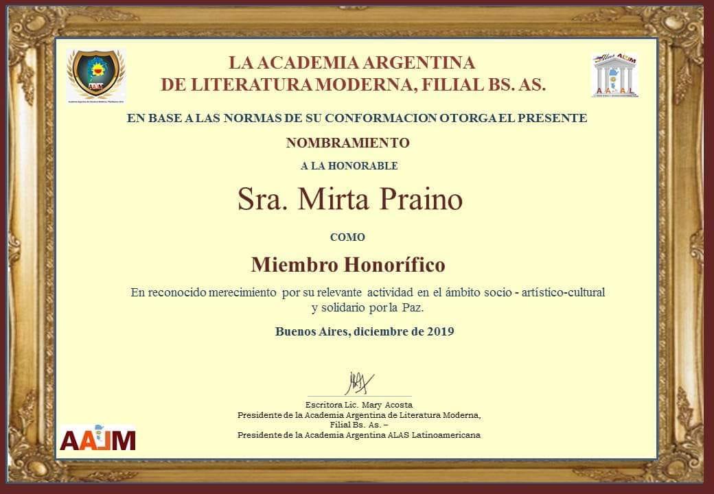 Nombramiento como Miembro Honorífico de la Academia Argentina de Literatura Moderna Filial Bs As