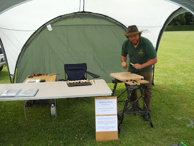 demonstrating woodcarving