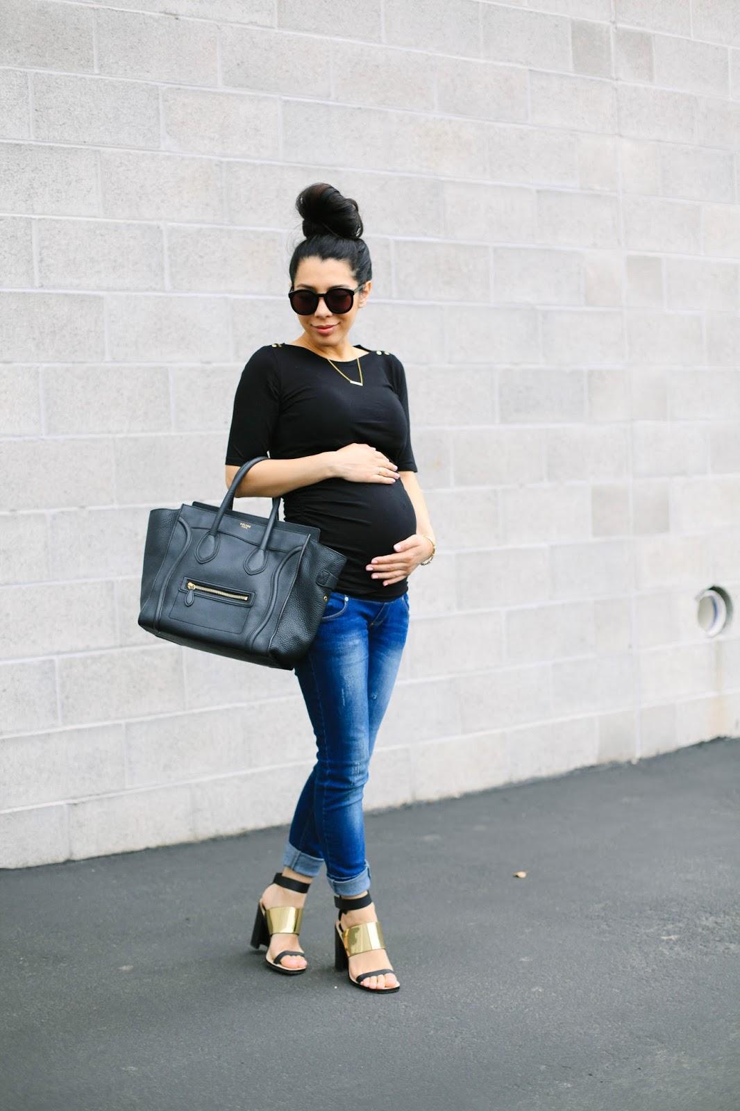 asos maternity, bump style, maternity style, zara heels, karen walker sunglasses, super duper, cartier love bracelet, chelsea charles bracelet, celine mini luggage tote,