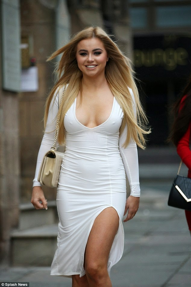 Ex On The Beach star Melissa Reeves in a skintight and plunging white dress