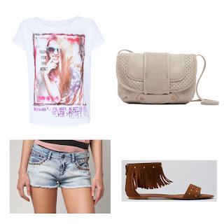 Camiseta (Blanco), Shorts (Berska), Sandalias, Bolso (Blanco)