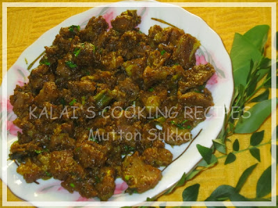 Goat Meat / Mutton Varutha Masala Sukka - South Indian Style Recipe
