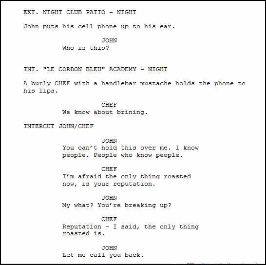 How do you write a telephone conversation in a screenplay