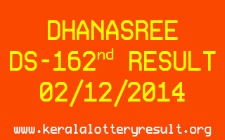 DHANASREE Lottery DS-162 Result 02-12-2014