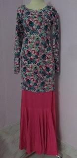 Baju Kurung Retro Turquoise - Skirt Pink