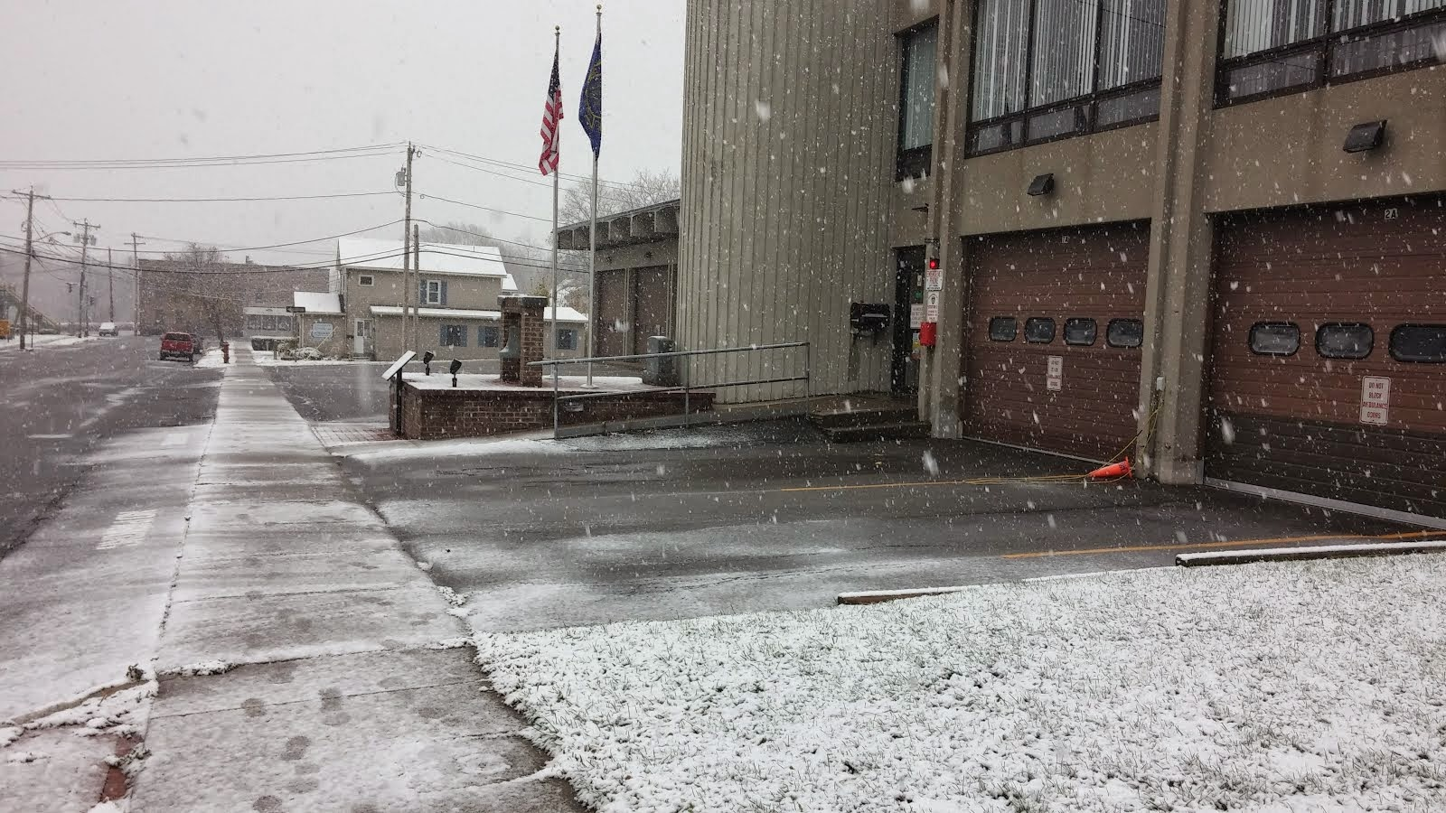 Snow in front of Fire Hall, Market Street, Brockport, NY 11/17/14
