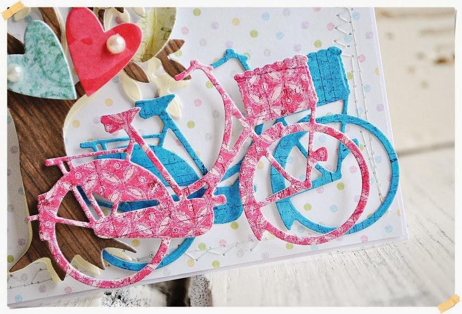 kartka z rowerami scrapbooking