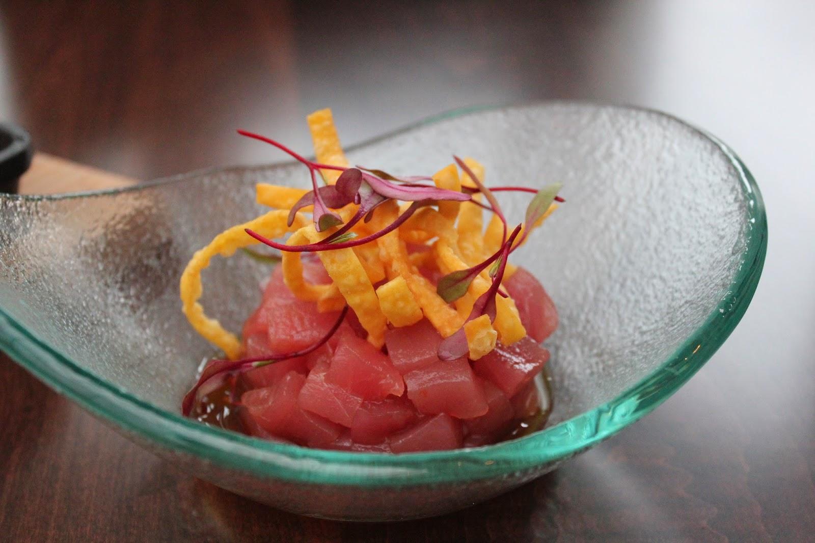 Yellowfin tuna tartare at Chopps American Bar and Grill, Burlington, Mass.