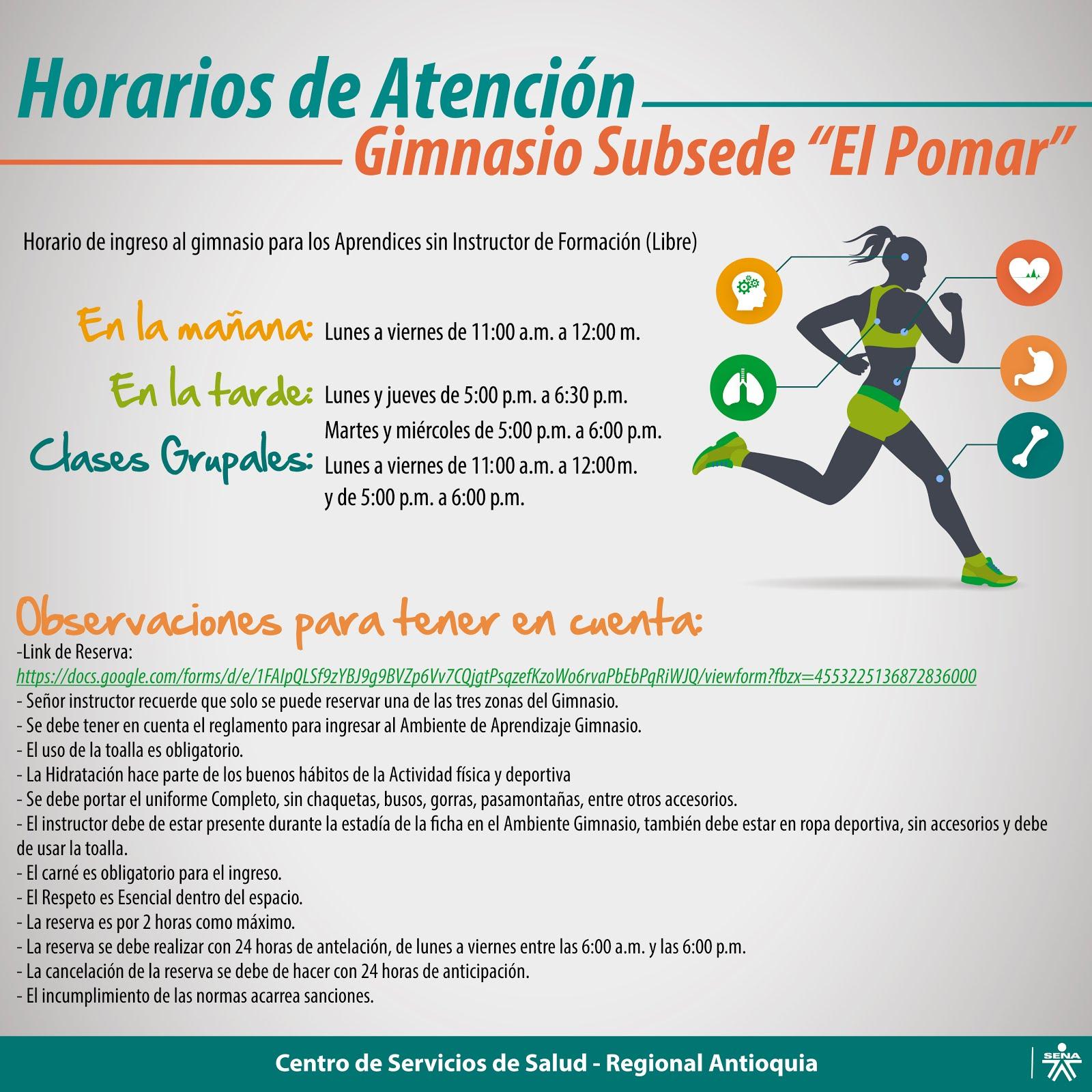 """HORARIOS GIMNASIO SUBSEDE """"EL POMAR"""""""