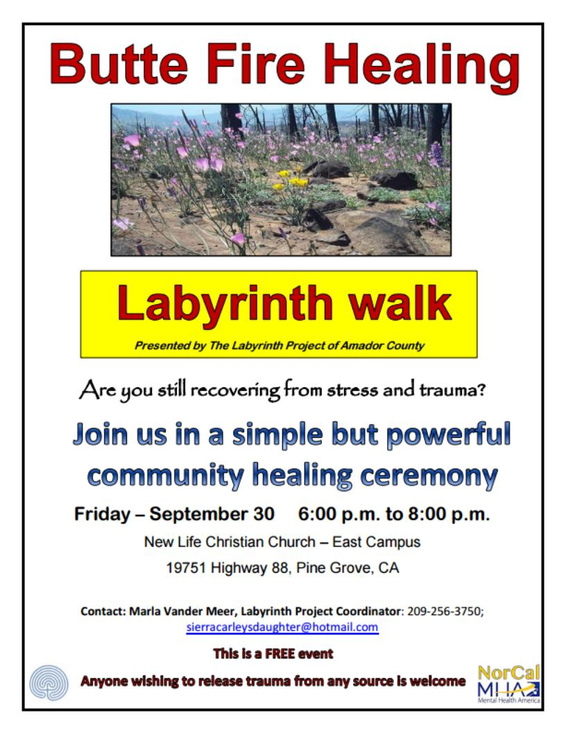 Butte Fire Labyrinth Walk - Fri Sept 30