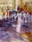 "JULY inspiration by Shirley Charlton with""Umbrellas, wet street"""