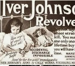 Propaganda do Revólver Iver Johnson com crianças. Propaganda americana de 1904.