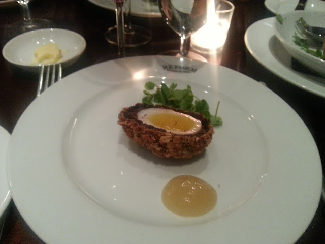 Duck egg scotch egg with black pudding