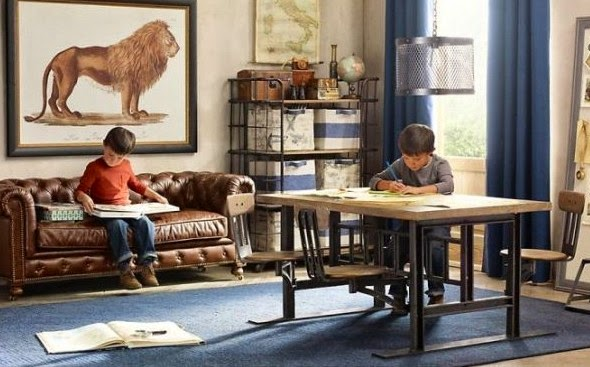 Traditional boys room decor ideas 2015, work area and study space, brown leather sofa