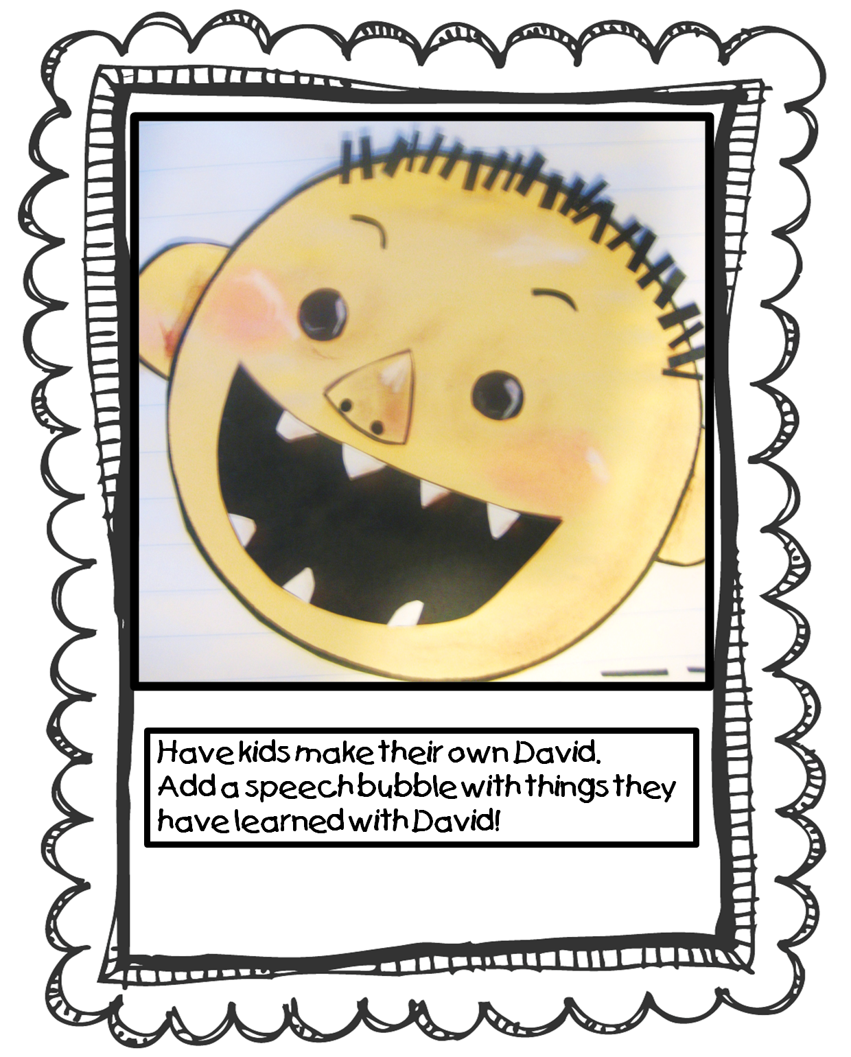 Have kids make their own David. A simple circle pattern is included in ...