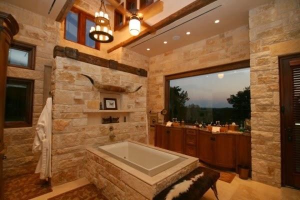 Baños Rusticos Madera:Las paredes de un baño rústico pueden ser decoradas con piedra Sea