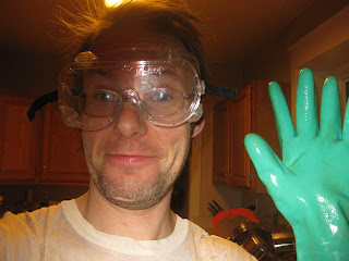 Use long chemical resistant gloves and splashproof goggles when handling etchant