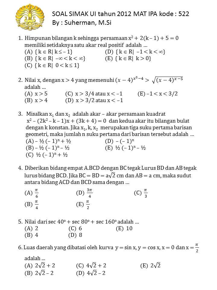 Soal Simak Ui 2012 Mat Ipa Kode 522 1000 Soal Matematika Uan Snmptn Simak Ui
