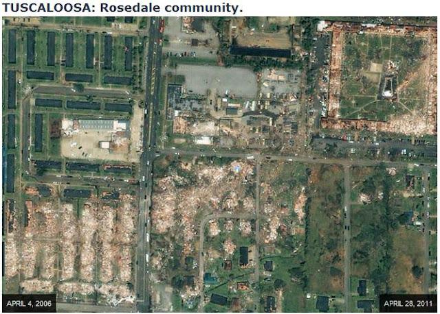 bluegrass pundit  before and after satellite images of tuscaloosa tornado devastation