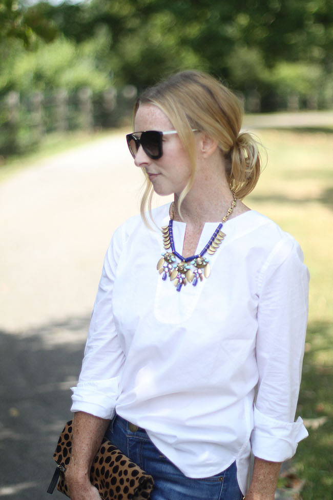 prada sunglasses, jcrew white tunic, jcrew statement necklace