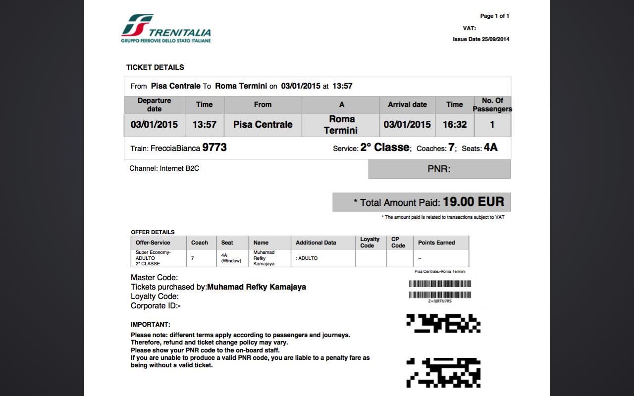 Tampilan web Trenitalia: PDF tiket kereta Italia