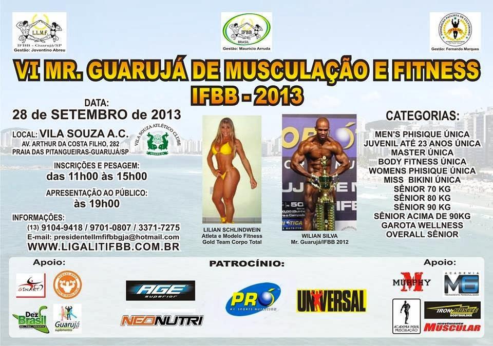 Cartaz do VI Mister Guarujá de Musculação e Fitness IFBB 2013. Foto: Divulgação