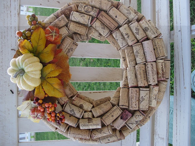 fall wreath from wine corks