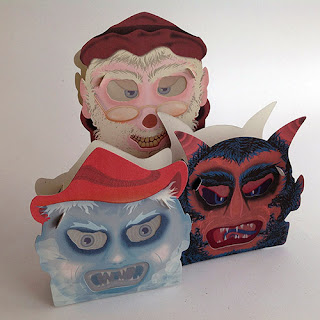 Old world Christmas spirits Jack Frost, St Nicholas, and Krampus as gift box candy container lanterns by Bindlegrim