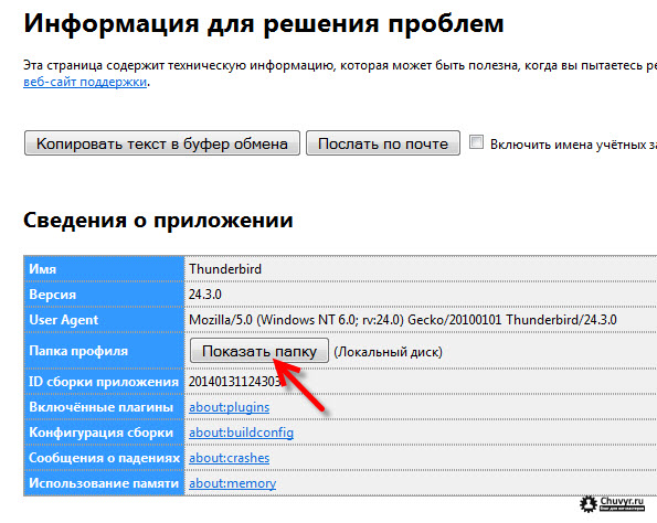 Папка профиля Mozilla Thunderbird