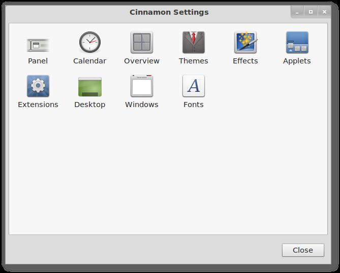 Konfigurasi 'lebih' dengan Cinnamon Settings