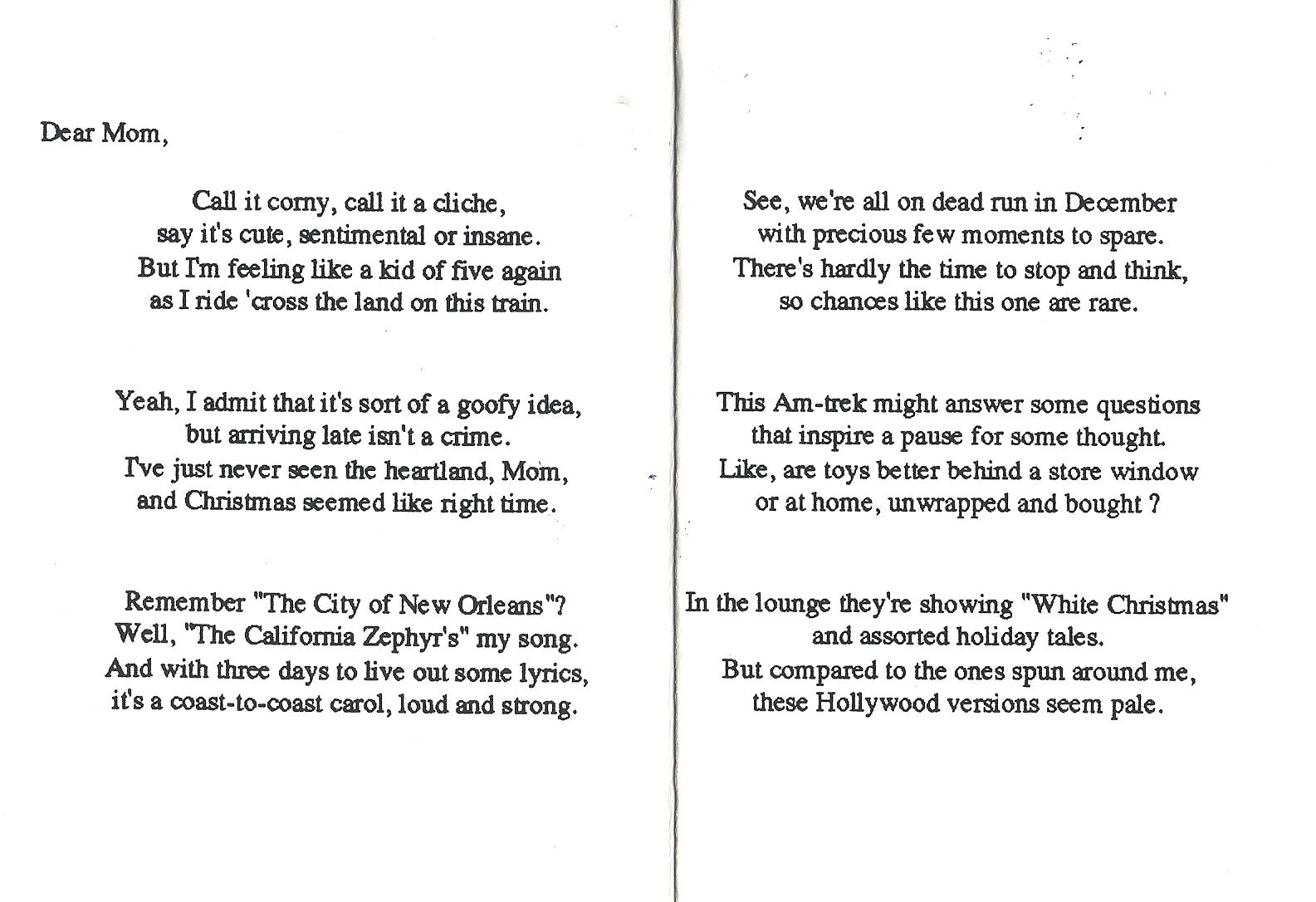 Amazed & Amused: 34 Years of Christmas Poems: Christmas 1989