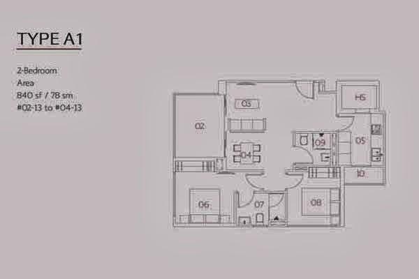Village @ Pasir Panjang 2 Bedroom Floor Plan