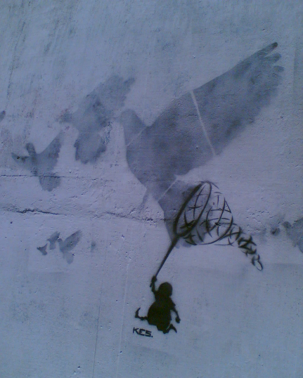 graffiti of a small man with a net chasing the shadows of enormous birds, which remain free, flying, uncaught