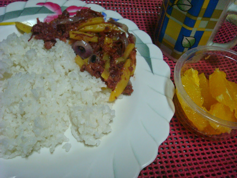corned beef, orange slices