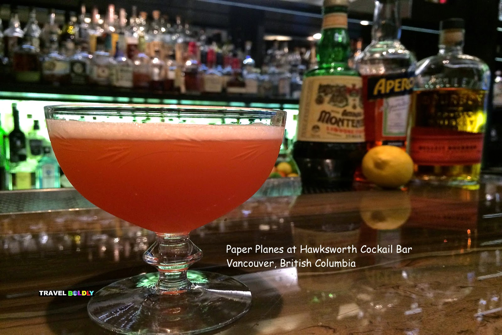 Paper Plane Cocktail at -Hawksworth Restaurant Vancouver, British Columbia - Travel Boldly