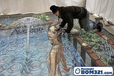 Lukisan 3D Di Kaki Lima