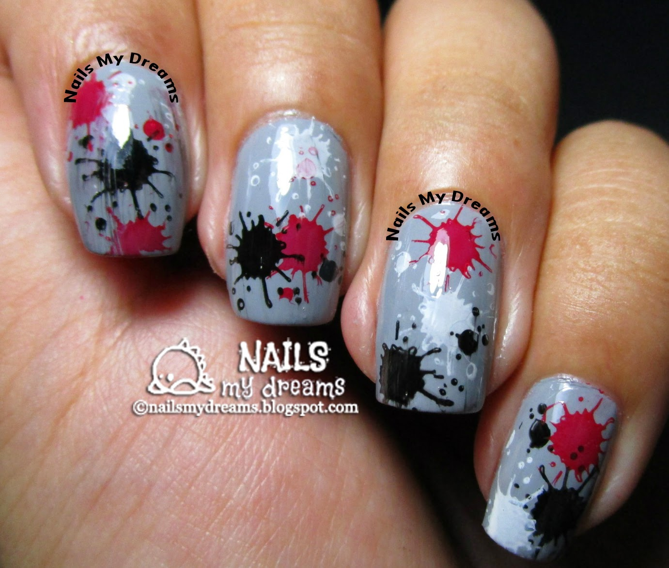 splatter nail art via stamping 2