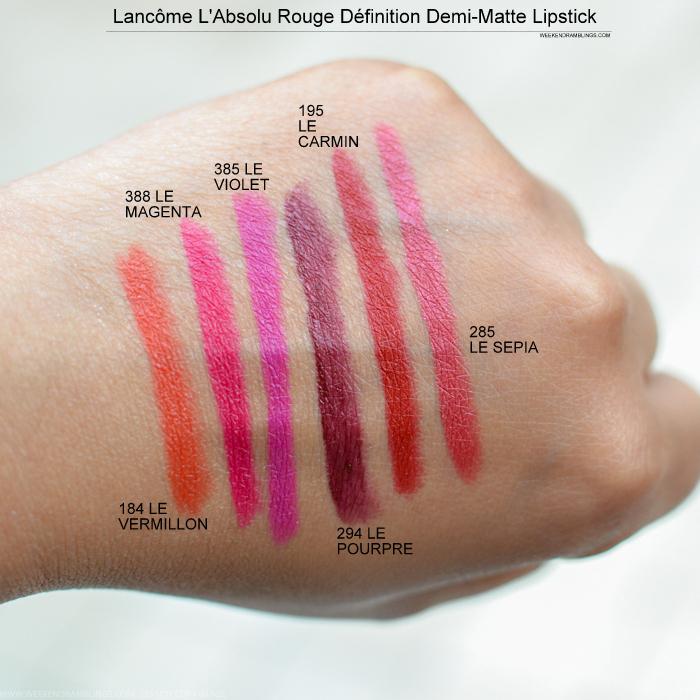 Lancome LAbsolu Rouge Definition DemiMatte Lipstick Fall 2015 Makeup Swatches 184 Le Vermillon 388 Le Magenta 385 Le Violet 294 Le Pourpre 195 Le Carmin 285 Le Sepia