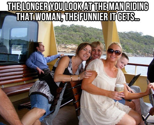 The longer you look at the little man riding that woman, the funnier it gets.