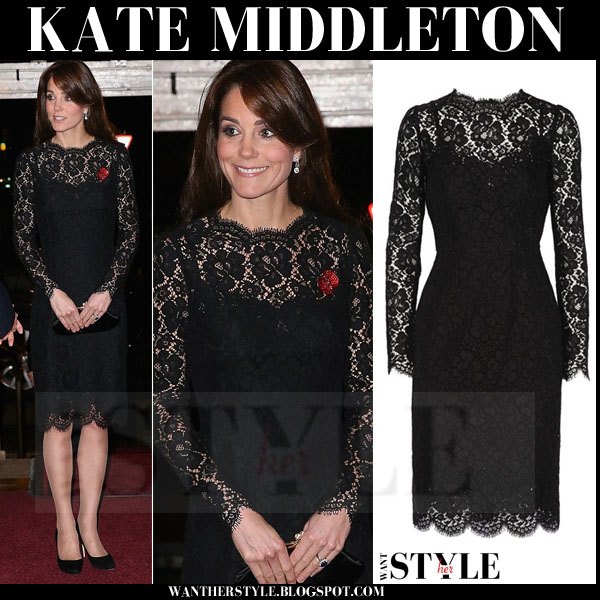 Kate Middleton in black lace dress with long sleeves what she wore