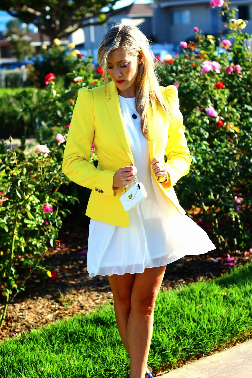 Yellow Zara Blazer, Scuba Lace White Dress, Cutout Booties