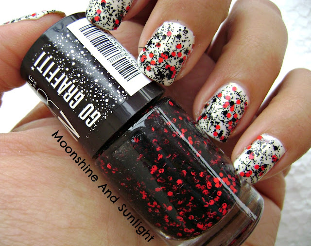 Red Splatter Go Graffiti Top Coat Review and Swatch || Colorbar Black Fiesta Dupe? || Maybelline Colorshow
