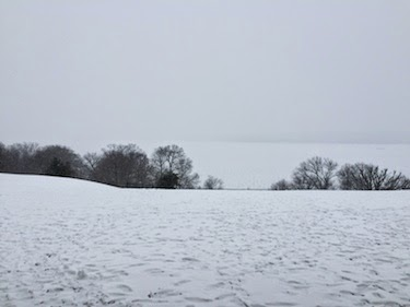 Chuck and Lori's Travel Blog - Frozen Potomac River from Mount Vernon