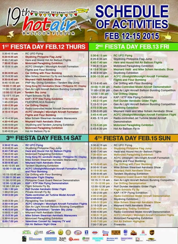 19th Philippine International Hot Air Balloon Festival Schedule of Activities