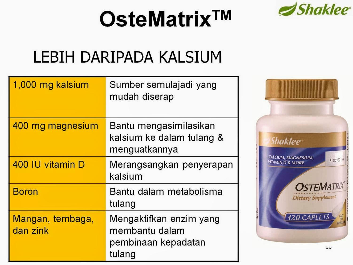 OsteMatrix membekalkan nutrien-nutrien harian termasuk kalsium yang dapat membantu dalam pembentukan dan penjagaan tulang dan gigi.