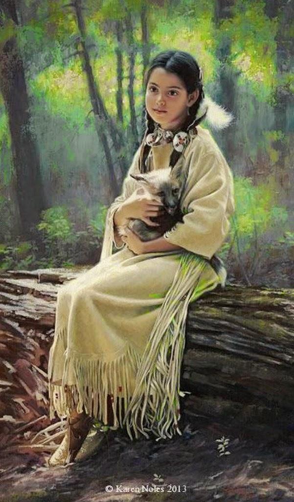 pinturas-de-niñas-indigenas-al-oleo