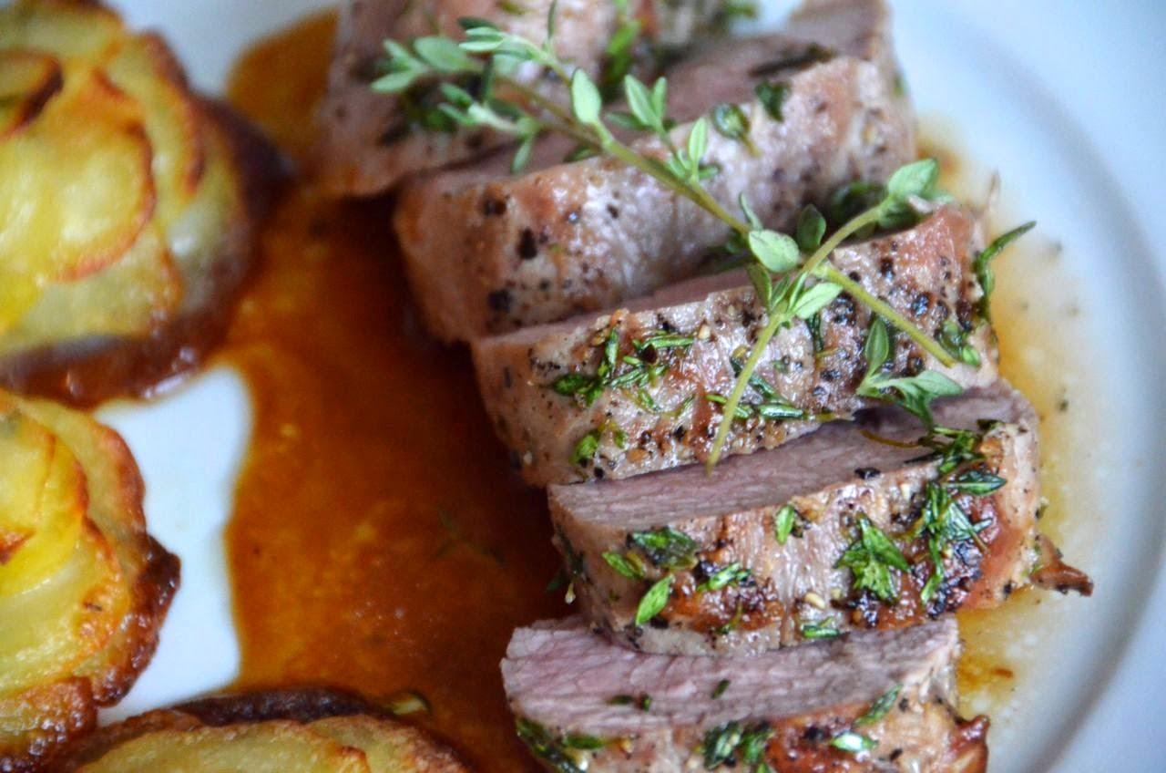Recipe source: 'Honey-Thyme Roasted Pork Loin', by Kerry Saretsky ...