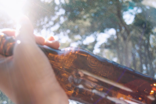 glass bottle in the sunshine